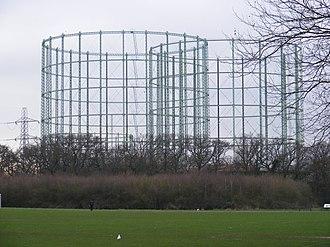 Motspur Park - The large gasometers at Motspur Park are visible across most of SW London.
