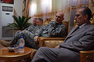 Raymond T. Odierno - Gen. Odierno and Iraqi National Security Advisor, Dr. Muwafaq Bakr al-Rubai, discuss details about Iraq's future, 29 November 2007, Mahmudiyah, Iraq.