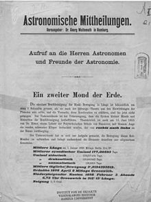 Poster announcing his discovery of the second moon of Earth