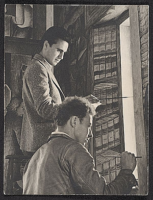 Frederick E. Olmsted - George Albert Harris (standing) and Frederick E. Olmstead Jr. working on Coit Tower mural, 1934, photo by Peter Stackpole, Archives of American Art, Smithsonian Institution