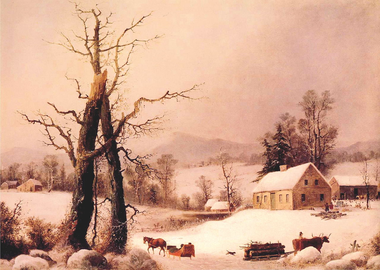 https://upload.wikimedia.org/wikipedia/commons/thumb/8/81/George_Henry_Durrie_-_Winter_Farmyard_and_Sleigh.JPG/1280px-George_Henry_Durrie_-_Winter_Farmyard_and_Sleigh.JPG