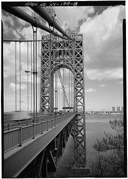 George Washington Bridge New York roadway and tower.jpg