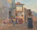 Gerhard Blom - Italiensk landsbygade med figurer - 1913.png