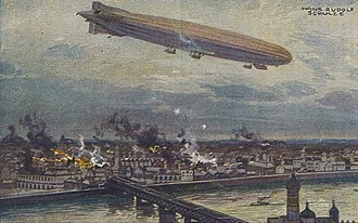 Aerial bombing of cities - German airship Schütte Lanz SL2 bombing Warsaw in 1914.
