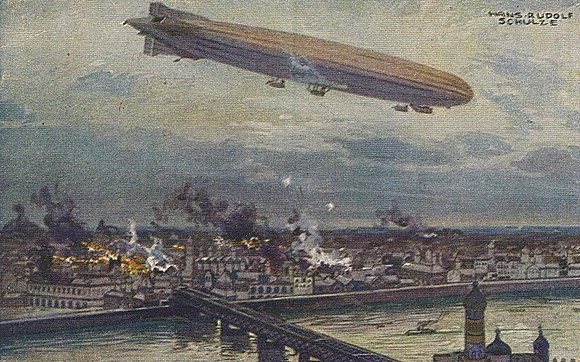 German airship Schütte Lanz SL2 bombing Warsaw in 1914
