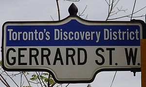 Gerrard Street (Toronto) - A street sign for Gerrard Street West, at its terminus in the Discovery District