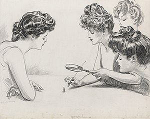 Gibson Girl - Drawing for The Weaker Sex. Gibson Girls examining a man under a magnifying glass