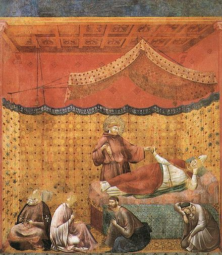 Giotto. Dream of Pope Gregory IX with St Francis of Assisi Giotto - Legend of St Francis - -25- - Dream of St Gregory.jpg