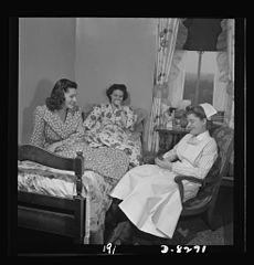 Given an hour's rest between rounds, Susan Petty, student nurse 8b07886v.jpg