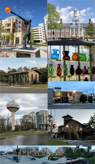 Clockwise from top right: Glassblower Statue, Bunce Hall (Rowan University), glass bottles from area glassworks, Glassboro Municipal Building, Hollybush Mansion, panorama of the Rowan Boulevard downtown area, Glassboro Water Tower, and Historic West Jersey Depot (old train station).