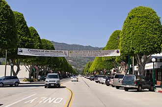 Glendora, California - Looking north from Civic Center along Glendora Avenue