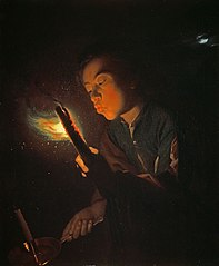 A Boy Blowing on a Firebrand to Light a Candle