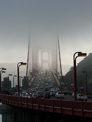 golden gate bridge fog. A view of the Golden Gate
