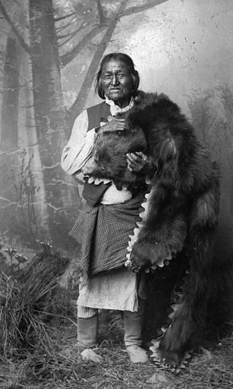 Gorgonia, a Native American (Mescalero Apache) man. He holds a bear pelt and wears moccasin boots, a breechcloth, kilt, and vest Gorgonia, Mescalero medicine man.jpg