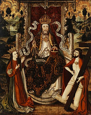 Buddhism and Christianity - God the Father on a throne, Westphalia, Germany, late 15th century.