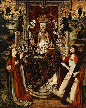 God the Father on a throne, Westphalia, Germany, late 15th century Gottvater thronend Westfalen 15 Jh.jpg
