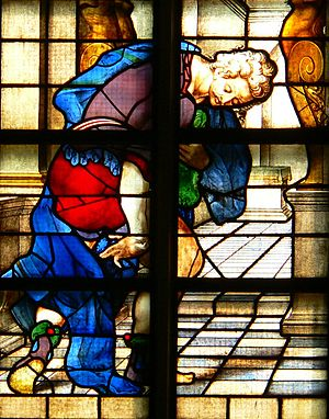 Pharisee and the Publican - Detail of stained glass window of the parable, Janskerk (Gouda).