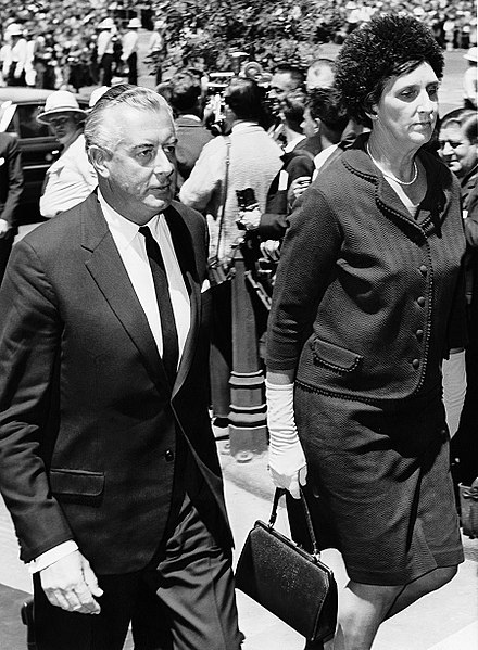 Whitlam and his wife Margaret entering the memorial service for Harold Holt in December 1967 Gough and Margaret Whitlam - Holt's memorial service.jpg