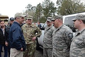 John Bel Edwards - Gov. Edwards meets with Louisiana National Guardsmen in Ponchatoula, Louisiana, March 2016