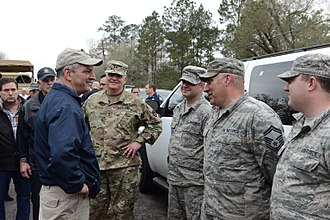 John Bel Edwards - Gov. Edwards meets with Louisiana National Guardsmen in Ponchatoula, Louisiana, March 2016