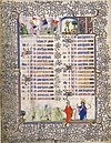 December calendar page from a book of hours