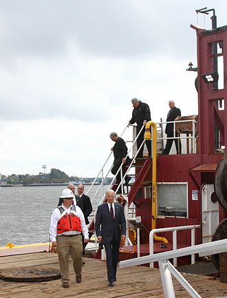 Great Lakes Dredge and Dock Company - US Vice President Joe Biden aboard Dredge 54 on the Delaware River in Philadelphia, 2014