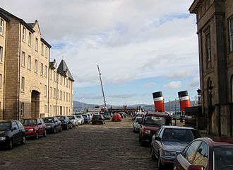 Greenock Central railway station - The Clyde steamer Waverley at Custom House Quay