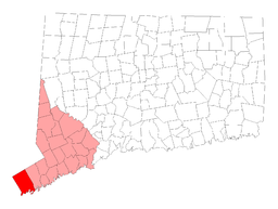 Greenwichs läge i Connecticut.