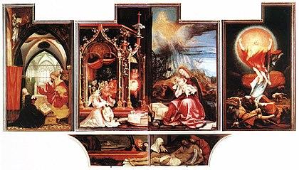 Risultati immagini per MATTHIAS GRUNEWALD AUTORITRATTO annunciazione e coro degli angeli