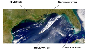 Maritime geography - The four kinds of navigable water in the Gulf of Mexico.