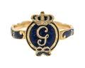 Gustaf IIIs revolutionsring av guld med emalj, 1772 - Hallwylska museet - 110167.tif