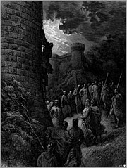 Bohemond of Taranto alone mounts the rampart of Antioch, in an engraving by Gustave Doré.