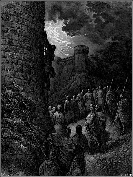 Fil:Gustave dore crusades bohemond alone mounts the rampart of antioch.jpg