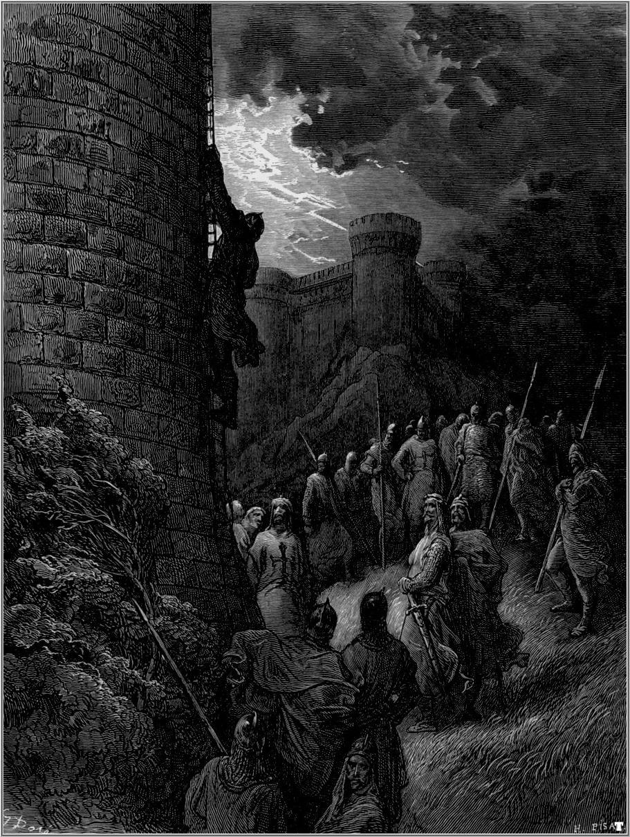 Gustave dore crusades bohemond alone mounts the rampart of antioch