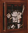 Gybrechts, Cornelis Norbertus - A trompe l'oeil of an open glazed cupboard door, with numerous papers and objects - 1666.jpg