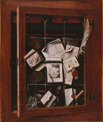 Cornelis Norbertus Gysbrechts - Image: Gybrechts, Cornelis Norbertus A trompe l'oeil of an open glazed cupboard door, with numerous papers and objects 1666