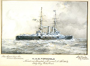 H.M.S. Formidable Named and Launched at Portsmouth 17th Novr 1898 by Lady Lucy Hicks Beach. Rear Admiral Ernest Rice, Admiral Superintendent. J A Yates Esq, Chief Constructor RMG PU6310.jpg