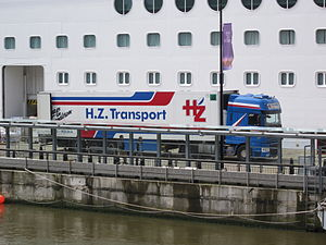 HGV delivers goods to 'Vision of the Seas' loading bay.JPG