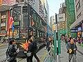 HK 灣仔 Wan Chai 莊士敦道 Johnston Road 56W 柯布連道 O'Brien Road tram stop sign Dec-2013 black 78 tram body ads No18 On Lan Street.JPG