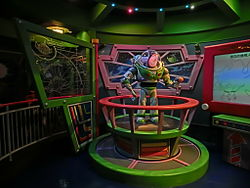 HK Disneyland 巴斯光年 星際歷險 Buzz Lightyear Astro Blasters visitors train Oct-2013 exhibit.JPG