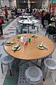 HK SWCC 上環市政大廈 Sheung Wan Cooked Food Centre interior Round tables with setting and plastic seats Jan-2018 IX1 (3).jpg