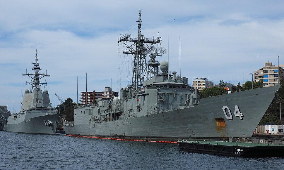HMAS Hobart and the former HMAS Darwin December 2017