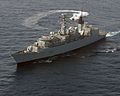 HMS Campbeltown, a Type 22 Frigate, conducted a helicopter exercise over the Red Sea. MOD 45147446.jpg