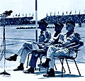 Haim Bar-Lev, Moshe Dayan and Mordechai Hod in Israel 23th Independence Day.jpg