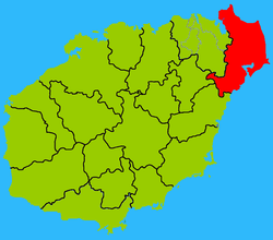 Map showing entire Wenchang area within Hainan province