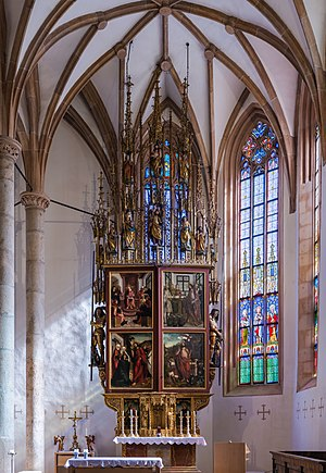 Altar of Our Lady at the catholic parish church Hallstatt, Upper Austria – View for weekdays with closed wings