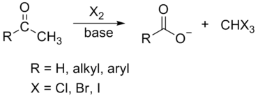 Haloform reaction scheme