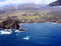 Aerial view of Hana, Maui