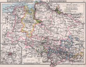 Térkép Hannover tartományban, 1905