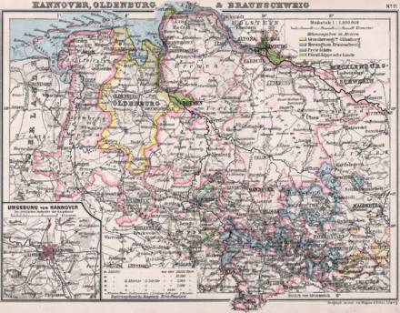 The Duchy of Brunswick and neighbouring states in 1905. Hannover Oldenburg Braunschweig 1905.png